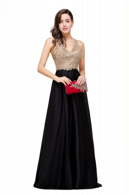 Cheap V-neck Satin Floor-Length A-Line Appliques Backless Prom Dress in Stock_12