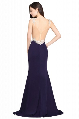 Sheath Sweep Train Dark Navy Evening Dresses_3