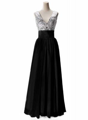 Cheap A-line V-neck Chiffon Party Dress With Sequined in Stock_4