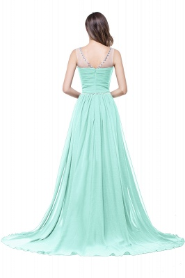 A-line Court Train Chiffon Cheap Party Dress With  Beading_11