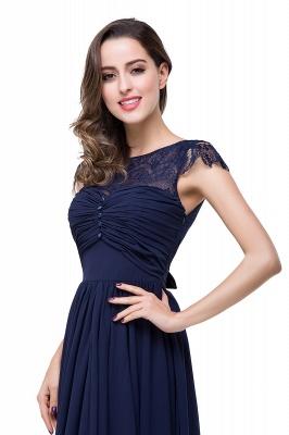 Cheap A-line Ruffles Ribbon Bow Capped Lace Chiffon Bridesmaid Dress in Stock_15