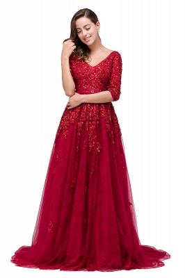 A-Line Floor-Length V-neck Half Sleeves Lace Appliques Prom Dresses_8