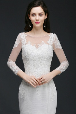 Mermaid Jewel White Wedding Dress With Lace_5