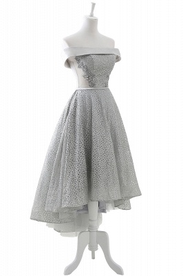 Chic Layers Off-the-Shoulder Lace Hi-Lo Silver Party Dresses_6
