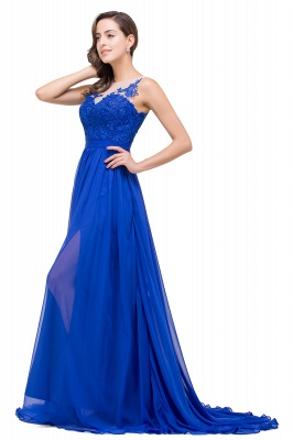 A-line Scoop-Neck Floor-length Sleeveless Chiffon Prom Dresses with Appliques_6