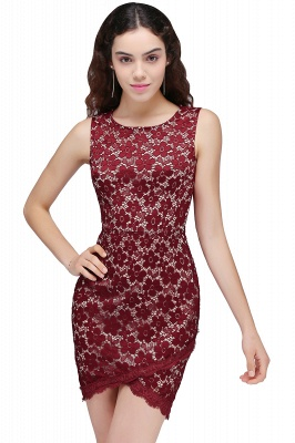 Cheap Bodycon Round Neck Short Lace Burgundy Homecoming Dress in Stock_1