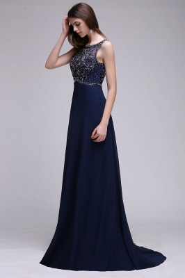 A-line Long Chiffon Dark Navy Vintage Prom Dresses with Rhinestones_5