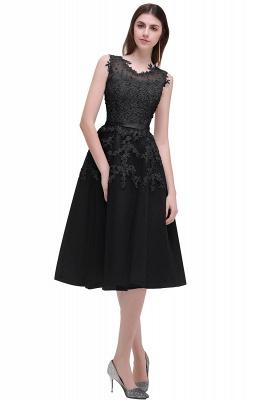 EMORY | Crew Tea Length Lace A-Line Appliques Short Prom Dresses_7