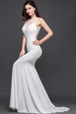 Mermaid Scoop Chiffon White Evening Dress With Beadings_6