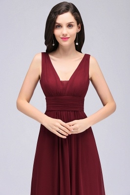 ALEXA | Sheath V Neck Burgundy Chiffon Long Evening Dresses_7