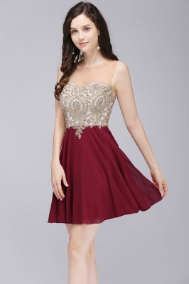 Cheap Cheap Sheer Burgundy Chiffon Short Cocktail Dress in Stock_7
