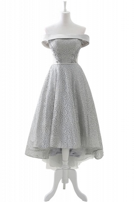 Chic Layers Off-the-Shoulder Lace Hi-Lo Silver Party Dresses_1