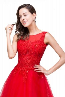 Chic Occasion Sepcial Sheer A-Line Red Evening Dresses_3