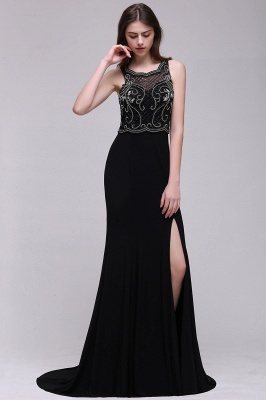 Sweep-train Chic Split-front Sleeveless A-line Chiffon Prom Dress_6