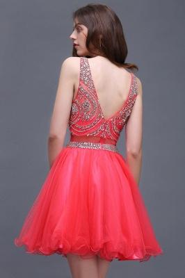 Rose Beads Applique Cute A-Line Crystal Short Sleeveless Evening Dresses_4