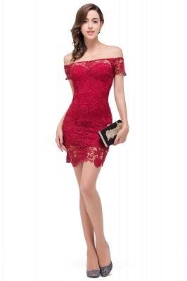 FERNANDA | Mermaid Off Shoulder Short Burgundy Lace Prom Dresses_5