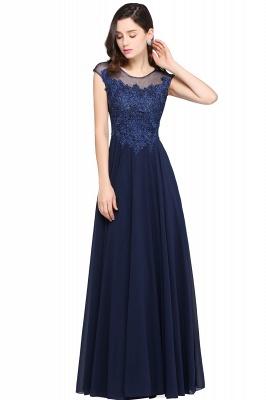Cheap Cap Sleeve Lace Appliques Long Chiffon Evening Dress in Stock_4