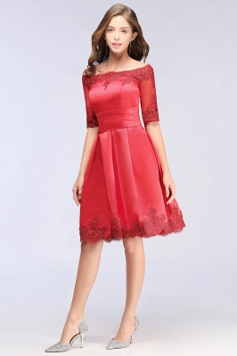 Cheap Chic Half Sleeve Lace-up Off-shoulder Lace Appliques Short Prom Dress in Stock_9