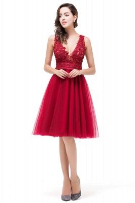 EVIE | A-Line Deep V-Neck Sleeveless Short Prom Dresses with Appliques_4