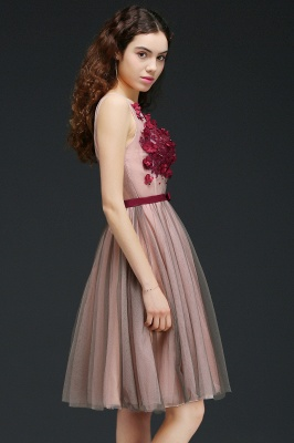 Princess V-neck Knee-length Tulle Homecoming Dress with a Self-tie Belt_7