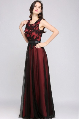 Cheap Pretty Sleeveless Black Lace Tulle Floor Length Formal Evening Dress with Sash in Stock_7