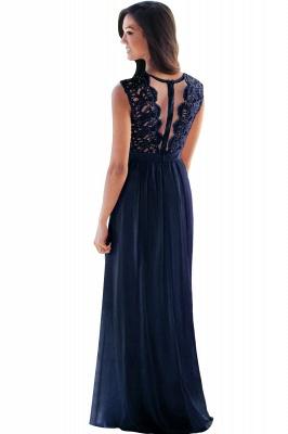 Elegant Sheath Crew Sleeveless Lace Top Chiffon Bridesmaid Dress_11