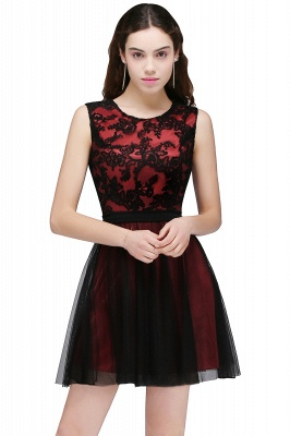 Cheap Short Lace Appliques Tulle Sleeveless Prom Dress in Stock_1