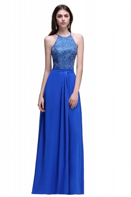 CALLIE   A-line Halter Neck Chiffon Royal Blue Prom Dresses with Sequins_1