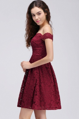 Cheap A-Line Off-the-shoulder Short Burgundy Lace Homecoming Dress in Stock_4