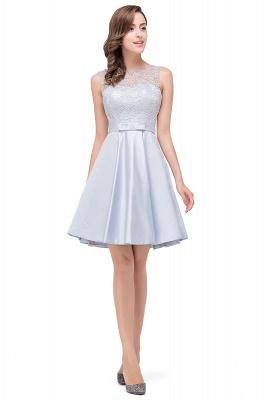 A-Line Knee Length Sleeveless Lace Short Prom Dresses_4