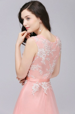 Pink A-line Prom Dress with Lace Appliques In Stock_8