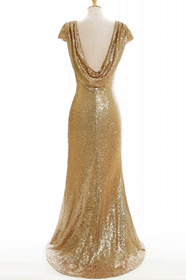 Cheap Women Sparkly Rose Gold Long Sequins Bridesmaid Dress in Stock_9