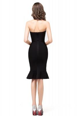 Mermaid Strapless Knee-Length Short Black Prom Dresses_3