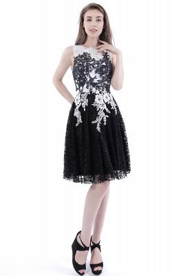 DAHLIA | Short Sheath Sleeveless Black Lace Prom Dresses_7