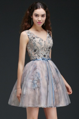 A-line Short Cute Homecoming Dress With Appliques_7