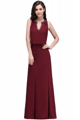 Cheap Front-split Crystal Floor-length V-neck Sleeveless Burgundy A-line Evening Dress in Stock_2