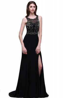 Sweep-train Chic Split-front Sleeveless A-line Chiffon Prom Dress_1
