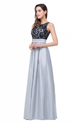 ELLIE | Elegant A-line Floor-length Crew Chiffon Lace Bridesmaid Dresses_4