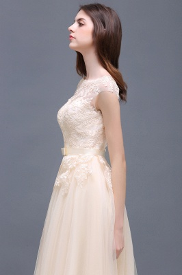Champagne Evening  Prom Off-the-shoulder Floor-Length with-Belt Lace-Appliques Party Dress_14