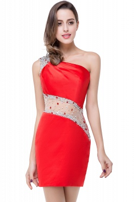 Cheap Cheap Crystal Beading One-shoulder Short Mermaid Prom Dress in Stock_2