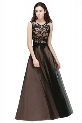 Cheap Pretty Sleeveless Black Lace Tulle Floor Length Formal Evening Dress with Sash in Stock_1
