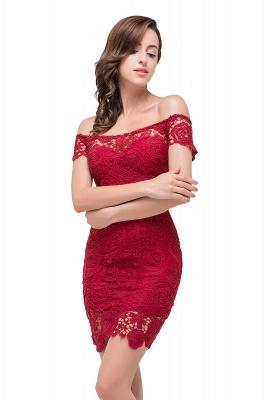 FERNANDA | Mermaid Off Shoulder Short Burgundy Lace Prom Dresses_6