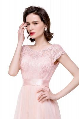 ELLIANA | Elegant Short Sleeves A-line Chiffon Bridesmaid Dresses with Ribbon Bow Sash_9