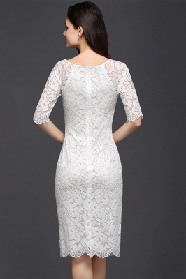 Cheap Lace Jewel Short Ivory Fashion Knee-length Sleeve Evening Dress in Stock_2