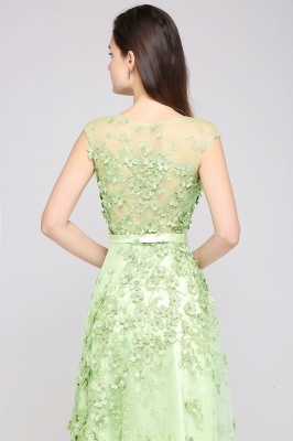 A-line Floor Length Tulle Green Prom Dresses with Appliques_7