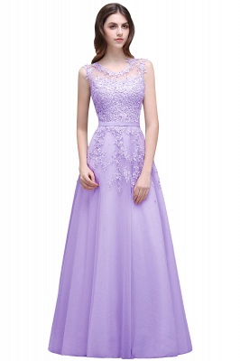Cheap A-line Floor-length Tulle Prom Dress with Appliques in Stock_4