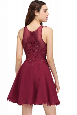 Cheap Burgundy A-line Homecoming Dress with Lace Appliques in Stock_8