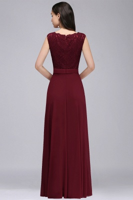 Cheap Elegant Lace A-line Long Burgundy Prom Dress in Stock_7