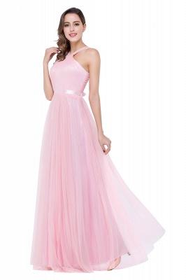 Cheap Sheath Pink Tulle Ribbon Sash Simple Bridesmaid Dress in Stock_6