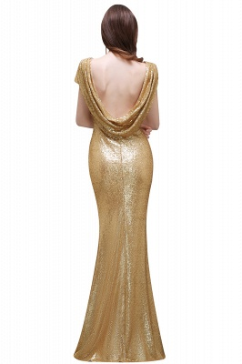 Cheap Women Sparkly Rose Gold Long Sequins Bridesmaid Dress in Stock_8